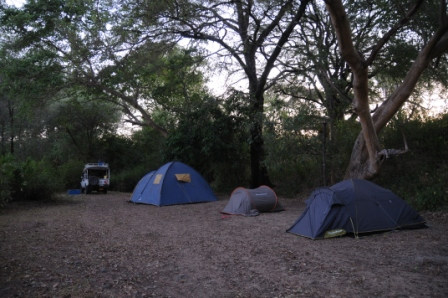 Camping in the middle of Omo National Park (apparently in the middle of the elephants' path!)