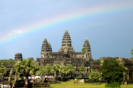 Angkor Wat under the rainbow