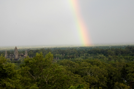 View of rainbow over Angkor Wat from Phnom Bakeng hill