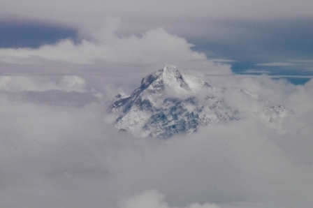 Mt Everest, Sagamartha in the local language, from the plane between Kathmandu and Lhasa