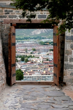 View of Lhasa from inside the Potala Palace