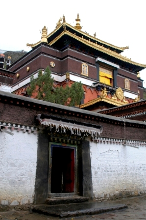 Tibetan door at Tashinlupo Monastery