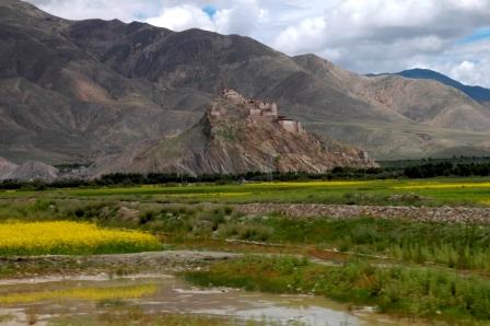 Tibetan landscape with Gyantse Dzong fortress, Gyantse