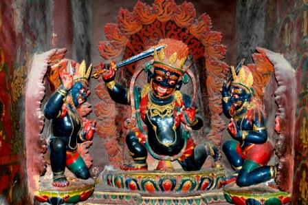 Statue of protector deity Chana Dorje inside chapel in Gyantse Kumbum