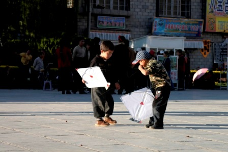 Kite flying at Barkhor Square