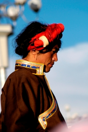 Traditionally dress Tibetan man