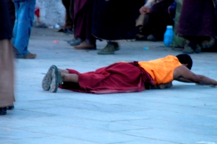 Picture 4 of 4: buddhist pilgrim postrating around the Jokhang's kora