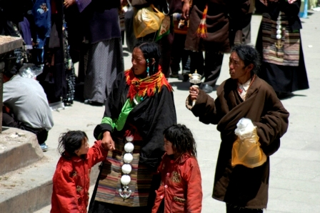 Tibetan family around the Jokhang temple