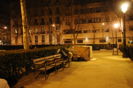 La casa de Iván, en el parque de la Villa de París, frente a la Audiencia Nacional