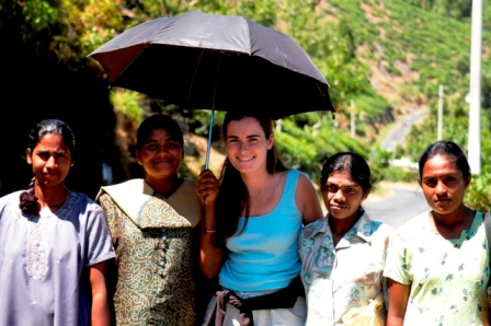 Hill stations, Sri Lanka, 2004. At the tea plantations... so hot! Thanks for the umbrella!
