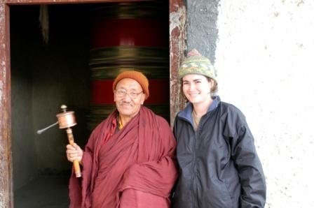 Lamanyuru Monastery, Ladakh, India, 2006. Reciting mantras and turning the prayer wheel with my new friend