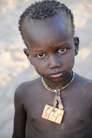 Turkana boy at refugee village