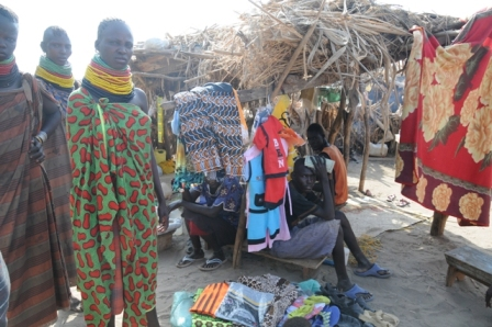 Business: selling clothes from Lodwar in the refugee village