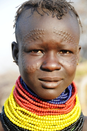 Turkana girl with scarifications